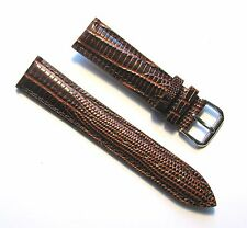 20mm Genuine Leather Padded Brown Lizard Grain Watch Band - Size Regular