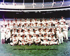 1957 MILWAUKEE BRAVES WORLD SERIES CHAMPS HOF 8X10 TEAM PHOTO