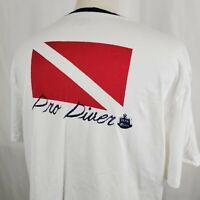 Chaps Ralph Lauren Mens T-Shirt XL Pro Diver Double Sided White Scuba Ocean