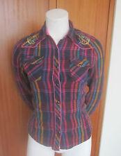 BIT & BRIDLE Multi-Color Plaid Long Sleeve Button Down pearl snap Shirt Sz S