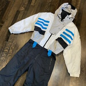 TYROLIA One piece Snow Suit Apres Ski Bib Snowsuit VTG 80s white black WOMENS 6