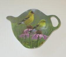 Goldfinch Birds Tea Bag Holder Ashdene New Melamine Teapot Shape Flowers