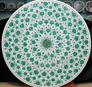 Marble Garden Table Top Inlay with Malachite Stone Work Dining table 60 Inches