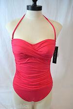 La Blanca Core Solids Bandeau One Piece Swimsuit LB5R020 Size 6 Pink