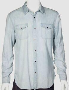 NWT $357 John Varvatos Star Usa Men Blue Long-Sleeve Button Cotton Denim Shirt L