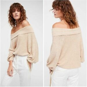 Free People Edessa Pullover Oversized On Or Off Shoulder Size Large Slouchy Boxy