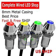 2~10 PCS 8mm Wired LED Diode Metal Case PANEL INDICATOR WARNING LIGHT 12V LAMP