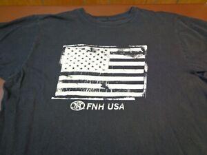 FNH USA   Flag Graphic   T Shirt  Large Black Tee    G0