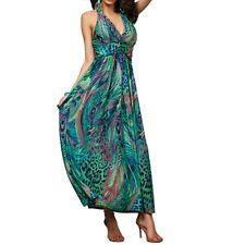 Deep V Halter Neck Peacock Floral Sleeveless Bohemian Pinched Waist Maxi Dress