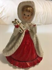 Vintage Christmas Shopper Josef Originals Planter Figurine Carrying Gift 1950's