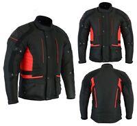 Mens Motorbike Motorcycle Long Jacket D-Dry Textile Waterproof Duratex Black Red