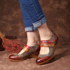 SOCOFY Women Retro Flowers Pattern Genuine Leather Shoe Splicing Hook Loop Pumps