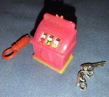 Old Plastic Toy Gumball Slot Machine Doll Miniature Gun Pacifier Key Chain Charm