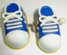 Vintage - 1980s Adidas style wind up Walking toy - Blue & white - TOMY Brand Wor