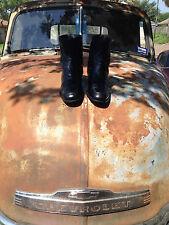 FLORSHEIM BLACK LEATHER ZIP UP BEATLE HIPSTER DISCO FEVER BOOTS8D