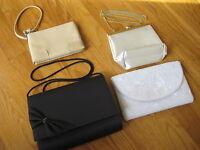 Lot of 4 vintage EVENING BAGS Jeromes La Regale white black beaded satin purse