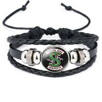 Newest UK Riverdale South Side Serpents Glass Domed Braided Leather Bracelet