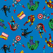 Marvel Comic Action Characters Blue 100% Cotton Fabric by the yard