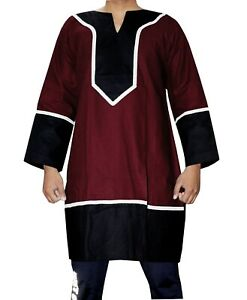 Aljanna Medieval/Renaissance Men's Red & Black Viking Tunic Full Sleeves