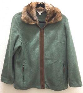 Woman's ORVIS OUTDOOR Faux FurTrim Fleece Fishing Hunting Zip Coat Jacket Med