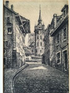 Vintage European Charcoal Drawing of Urban Landscape and Signed by Artist
