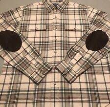 Ralph Lauren Polo Plaid Elbow Patch Shirt Beige Large