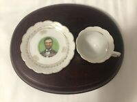 Miniature Tea Cup & Saucer Abraham Lincoln Springfield Made Japan White & Gold