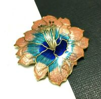Vintage Blue & Peach Chinese Cloisonne Enamel Hibiscus FLOWER Brooch Gold oo128g