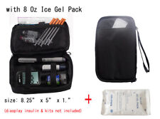 Diabetic Organizer Cooler Bag- for insulin & supply kits,w/ 2x ice pack -black