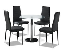 Round Clear Glass Dining Table Set and 4 Black Faux Leather Chairs Furniture