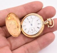 Elgin Hunter Case Real Solid 14K Yellow Gold Pocket Watch