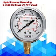 "Brass 1/4"" NPT Male Hydraulic Liquid Filled Pressure Measuring Gauge 0-3500 PSI"