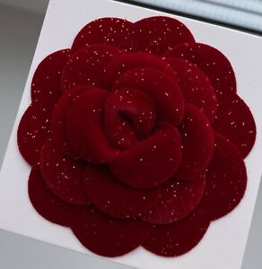 CHANEL pin brooch badge uniform red Camellia velvet Flower holiday 2019 VIP GIFT