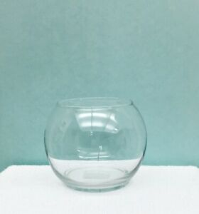 """Libbey Clear Glass Footed Bubble Bowl 3.9"""" x 4.9"""" Flowers Candles Made In USA"""