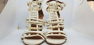 NWOT, Scanlan Theodore, Cream Strappy Studded Heels, Size 39, AU 9.
