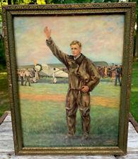 Antique Charles Lindbergh Tribute Framed Picture Spirit Saint Louis RARE!