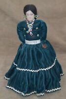 "Vintage 10"" Hand Made Native American Doll w/ Beads, Green Velvet Dress & Stand"