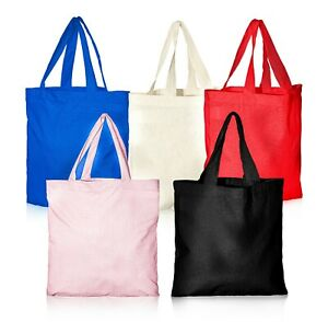 "IMFAA Colourd 100% Cotton Canvas Tote Hand/Shoulder Reusable Shopping Bags ""lot"""
