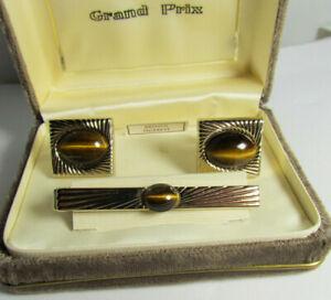 Vintage Swank Grand Prix Tiger Eye Goldtone Cufflinks &Tie Clip Original Box