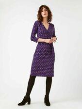WHITE STUFF V neck Purple Navy Pink Spotted Wrap Stretch Dress 8 10 12 14 16