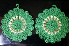 """Set Of two 6"""" Crocheted Round Pot Holders"""