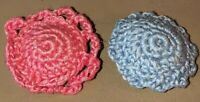 Vintage Miniature Hand Crocheted Round Dollhouse Pillows(2)