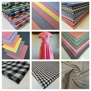 """Polycotton Gingham Fabric Check 1"""" or 1/4"""" or 1/8"""" Back to School Uniform Dress"""