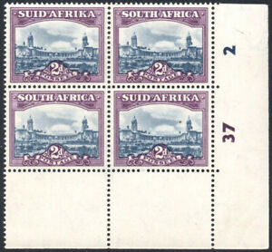 South Africa 1947-54 2d slate-blue & purple, CYLINDER BLOCK, SG.116 mint