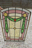 French antique art nouveau stained glass window panel 1900s