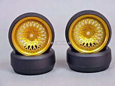 RC 1/10 DRIFT WHEELS Package 0 Degree 6MM Offset GOLD MESH W/ CHROME Lip