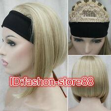 Ladies Cute Short wig BOB 3/4 with headband Light blonde straight half wigs
