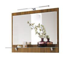 Spiegel mit Milchglas Ablage Rima 5672 78 in Walnuss Nachbildung mit LED Leuchte