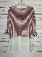 Ya Los Angeles Boutique Women's M Medium Ivory Striped Summer Tunic Top Blouse