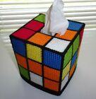 "Rubik's Cube Tissue Box Cover ""Handmade"" Single Stitch, Plastic Canvas,Gift Idea"